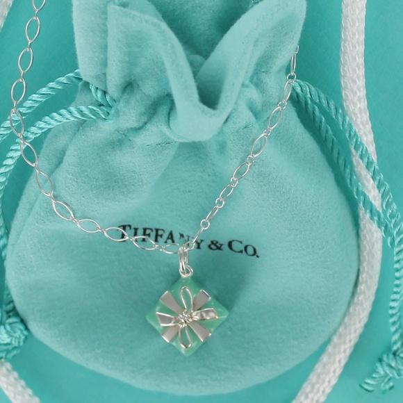 ccb00a7d77 Tiffany Silver Blue Enamel Gift Box Charm Necklace.  M_5ac3ac83c9fcdf63e6b3d5b8